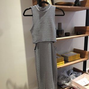 Topshop Striped Dress with Side Cutouts